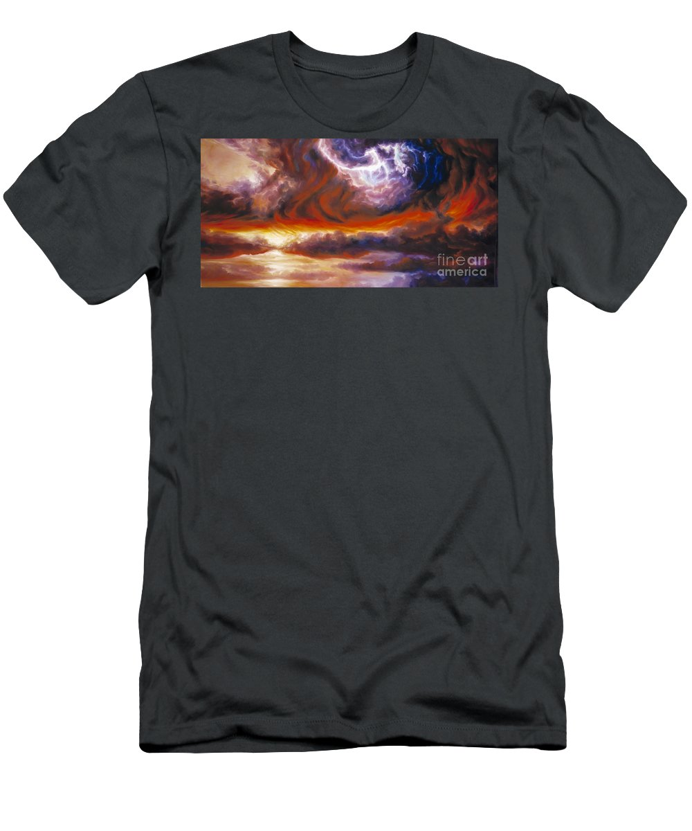 Tempest Men's T-Shirt (Athletic Fit) featuring the painting The Tempest by James Christopher Hill