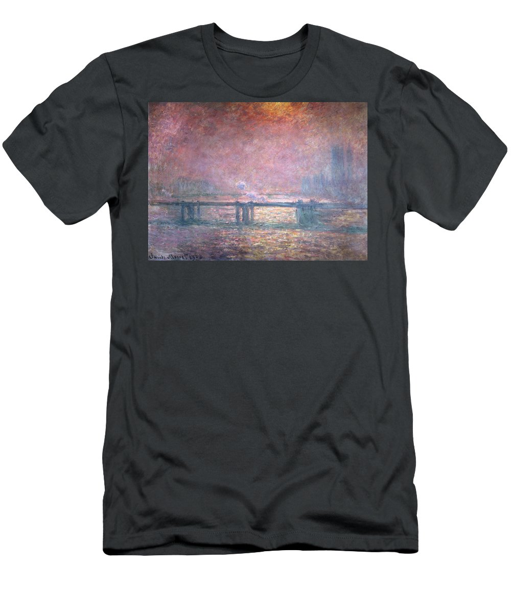 Monet Men's T-Shirt (Athletic Fit) featuring the painting The Thames At Charing Cross by Claude Monet