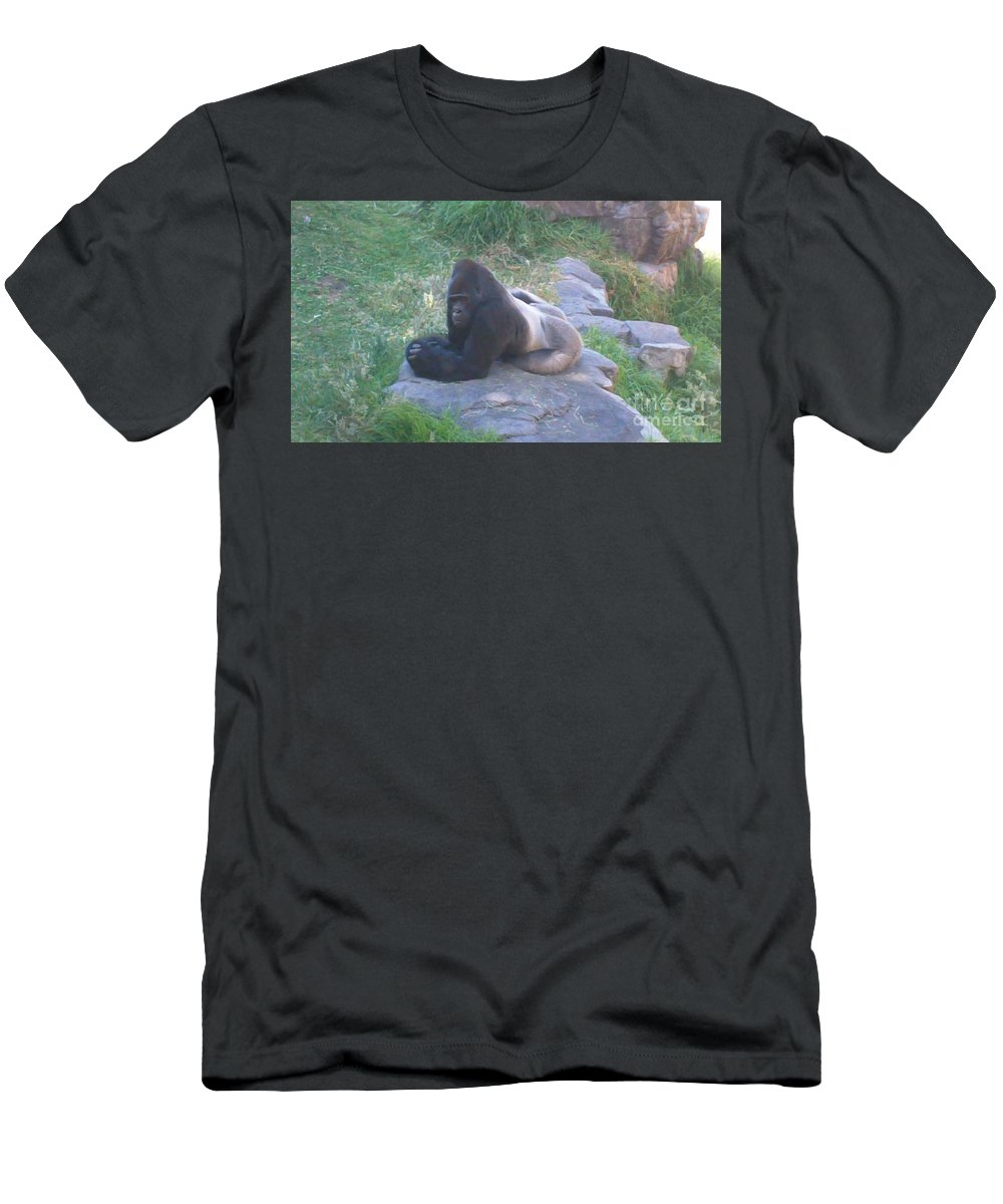 Gorillas Men's T-Shirt (Athletic Fit) featuring the photograph Silverback Gorilla by Rick Maxwell