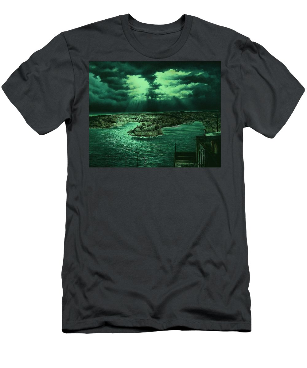 Men's T-Shirt (Athletic Fit) featuring the painting The Three Cities by Benny Brimmer