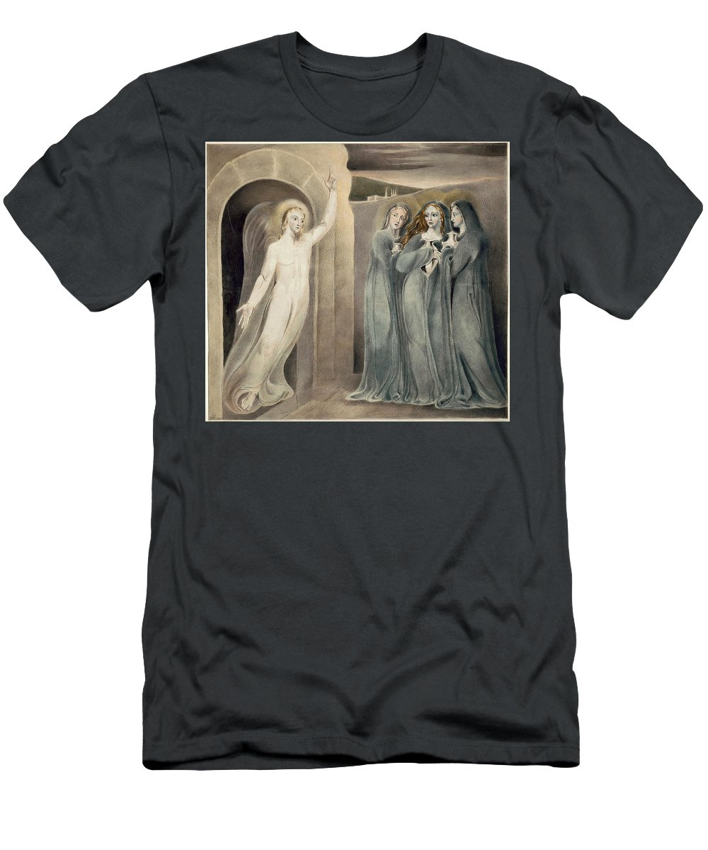 William Blake Men's T-Shirt (Athletic Fit) featuring the drawing The Three Maries At The Sepulchre by William Blake