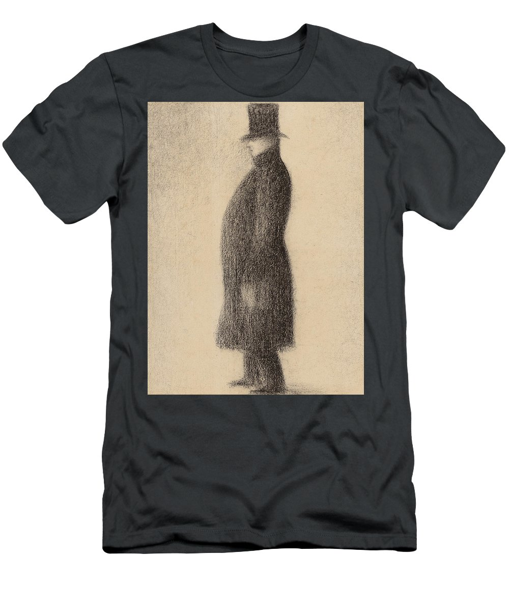 Seurat Men's T-Shirt (Athletic Fit) featuring the drawing The Top Hat by Georges Pierre Seurat