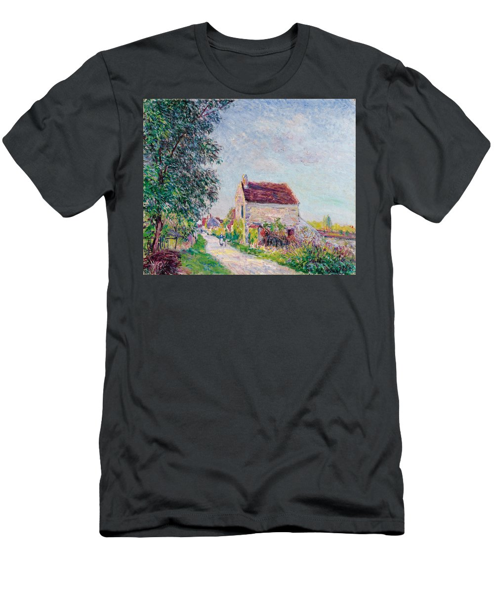 Alfred Sisley Men's T-Shirt (Athletic Fit) featuring the painting The Village Of Sablons by Alfred Sisley