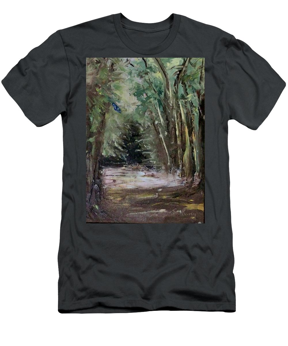 Landscape Men's T-Shirt (Athletic Fit) featuring the painting The Walk by Stephen King