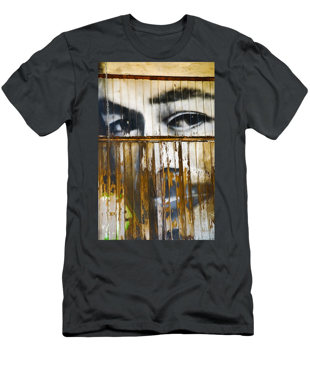 Escondido Men's T-Shirt (Athletic Fit) featuring the photograph The Walls Have Eyes by Skip Hunt