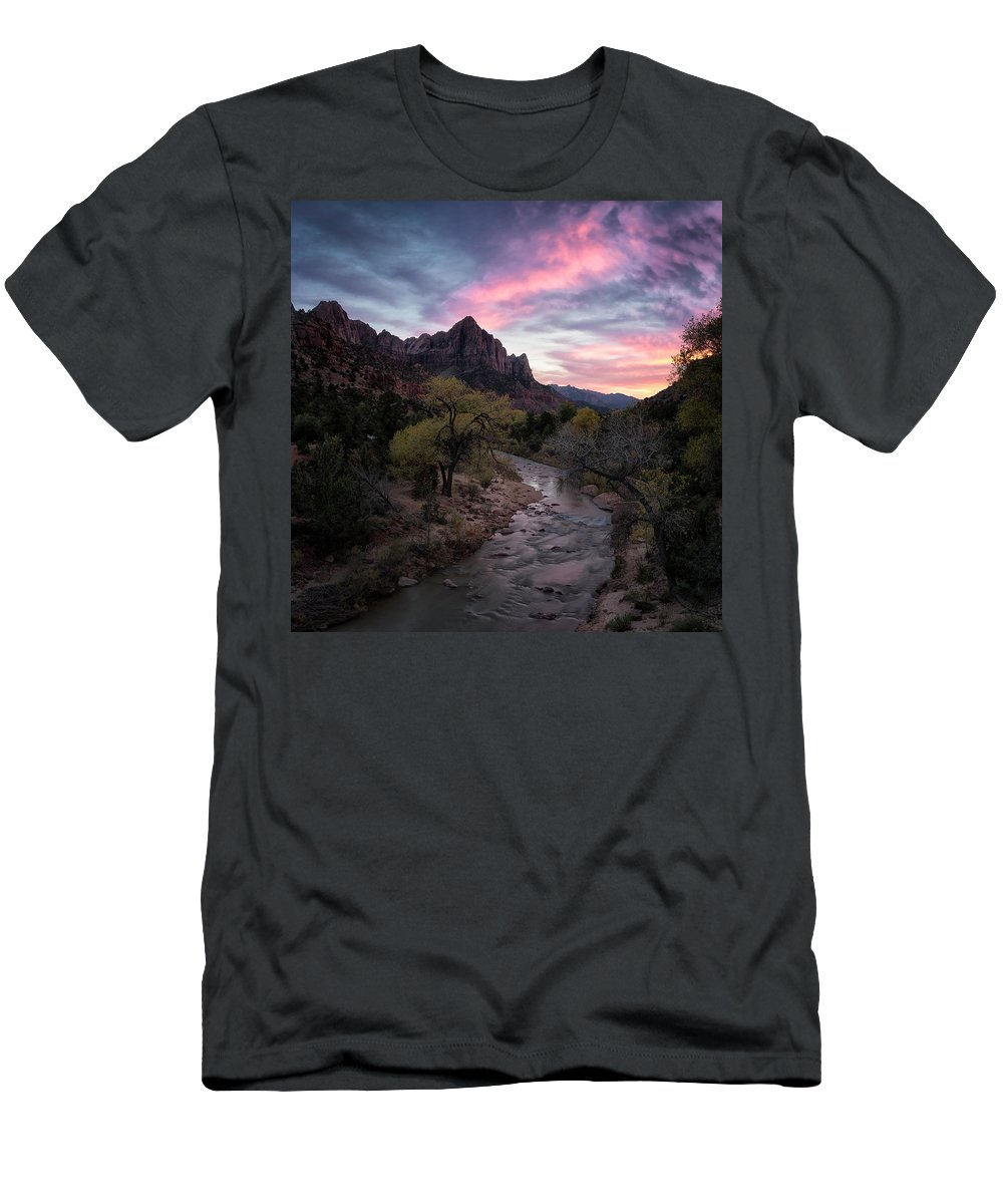 Zion Men's T-Shirt (Athletic Fit) featuring the photograph The Watchman Show by Robert Fawcett