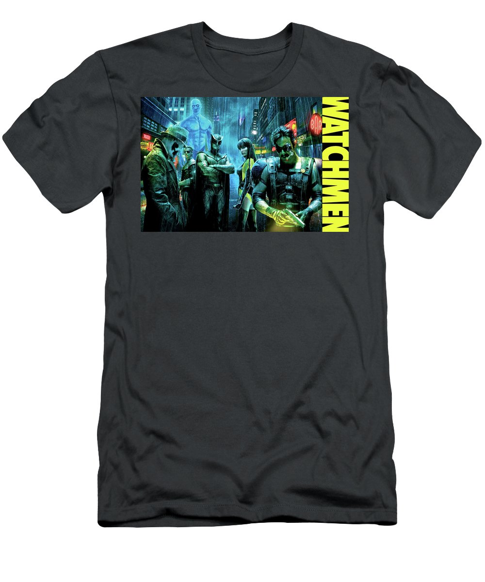 The Watchmen T-Shirt featuring the photograph The Watchmen,nite Owl, Silk Spectre II, Roschach, Dr. Manhattan, Ozymandias, The Comedian by Thomas Pollart