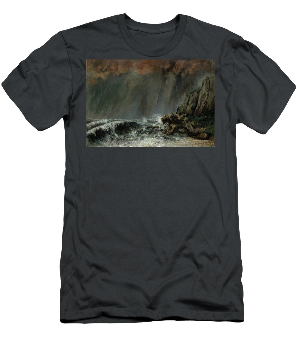 Marine - The Waterspout By Gustave Courbet Men's T-Shirt (Athletic Fit) featuring the painting The Waterspout by Gustave Courbet