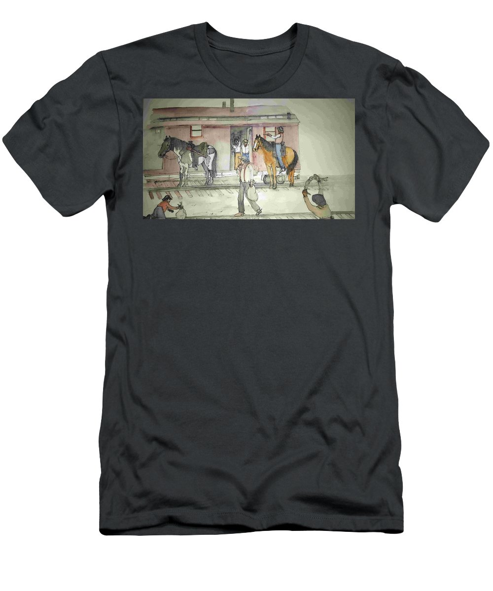 Western. Train. Robbery. Horses. Men's T-Shirt (Athletic Fit) featuring the painting The West. Wild And Women by Debbi Saccomanno Chan