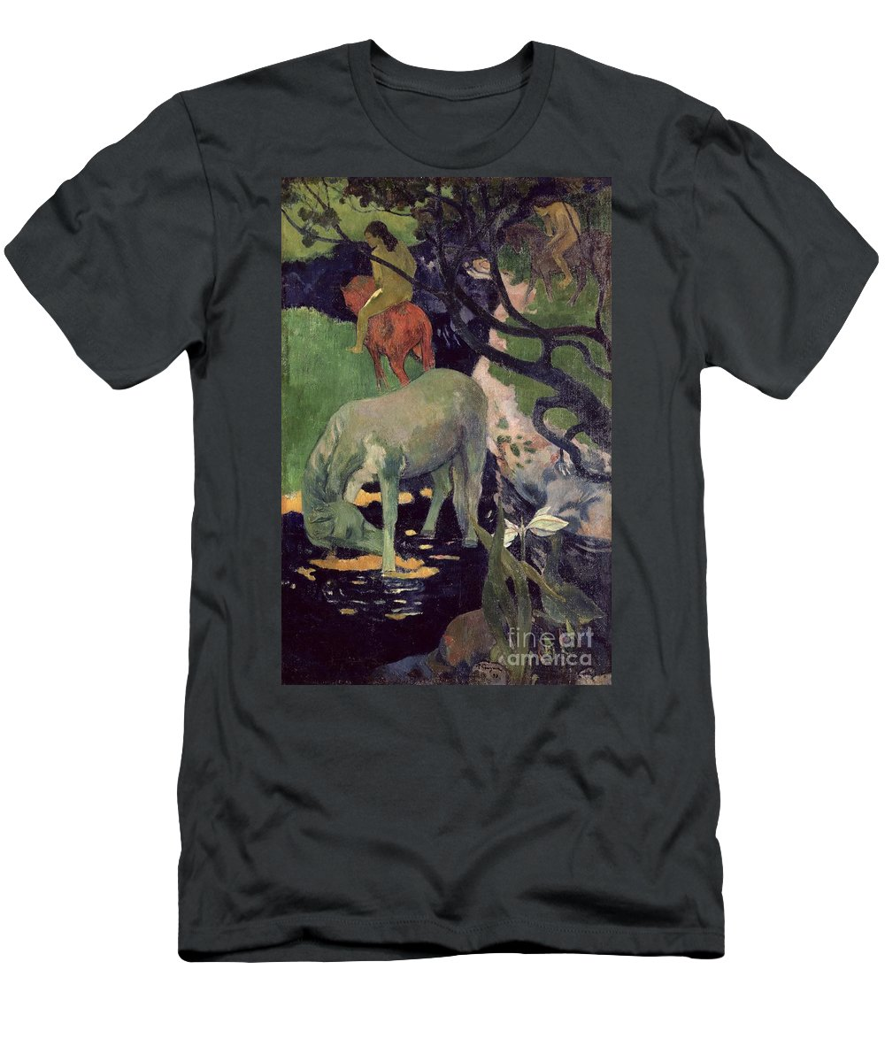 The White Horse Men's T-Shirt (Athletic Fit) featuring the painting The White Horse by Paul Gauguin