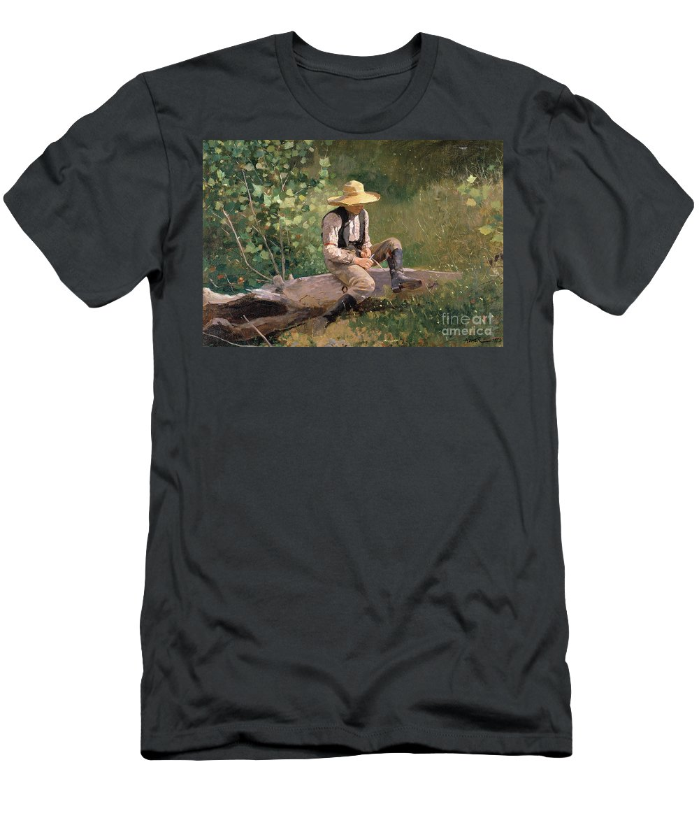 The Whittling Boy Men's T-Shirt (Athletic Fit) featuring the painting The Whittling Boy by Winslow Homer