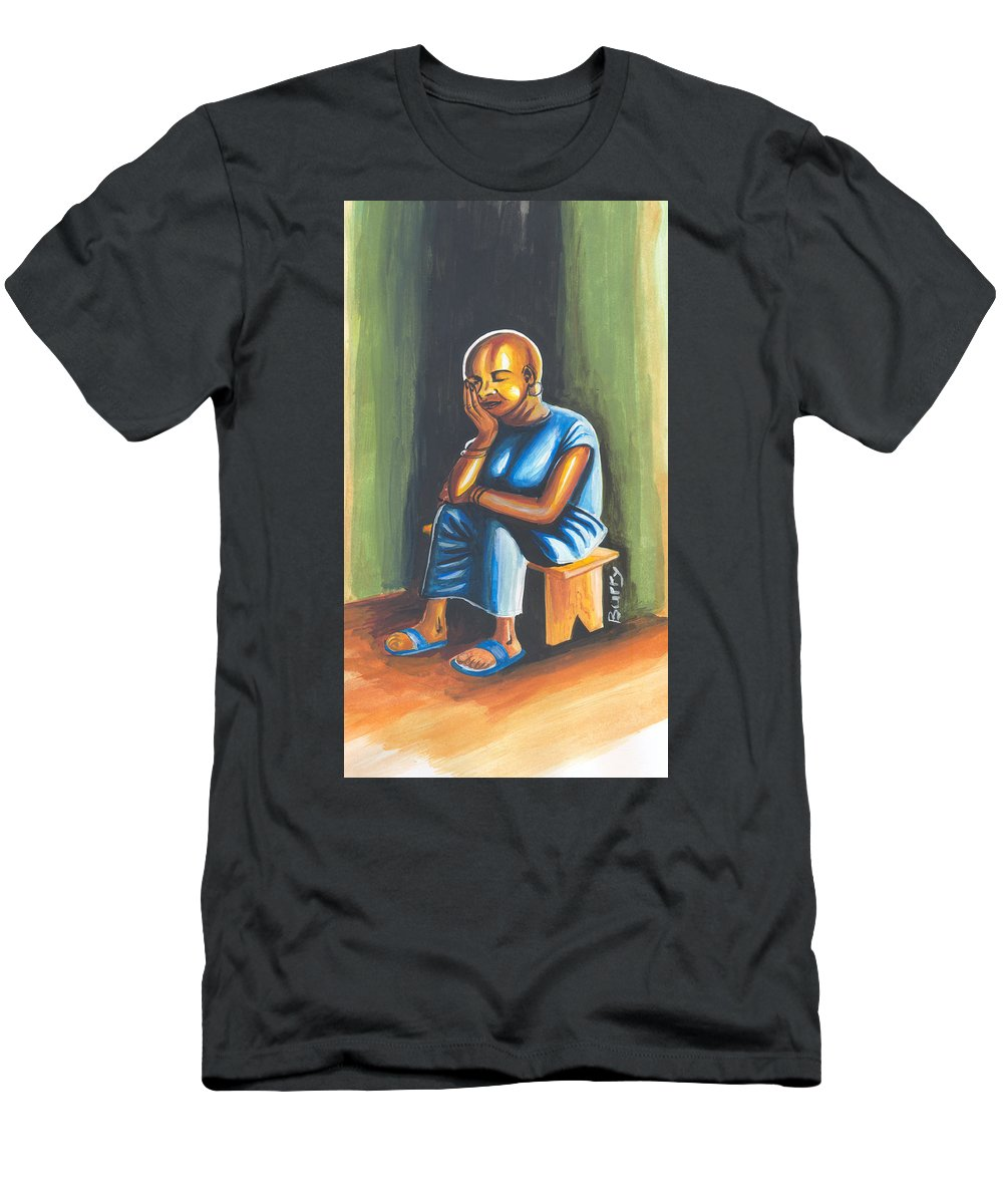 Book Cover Men's T-Shirt (Athletic Fit) featuring the painting The Widows Might by Emmanuel Baliyanga