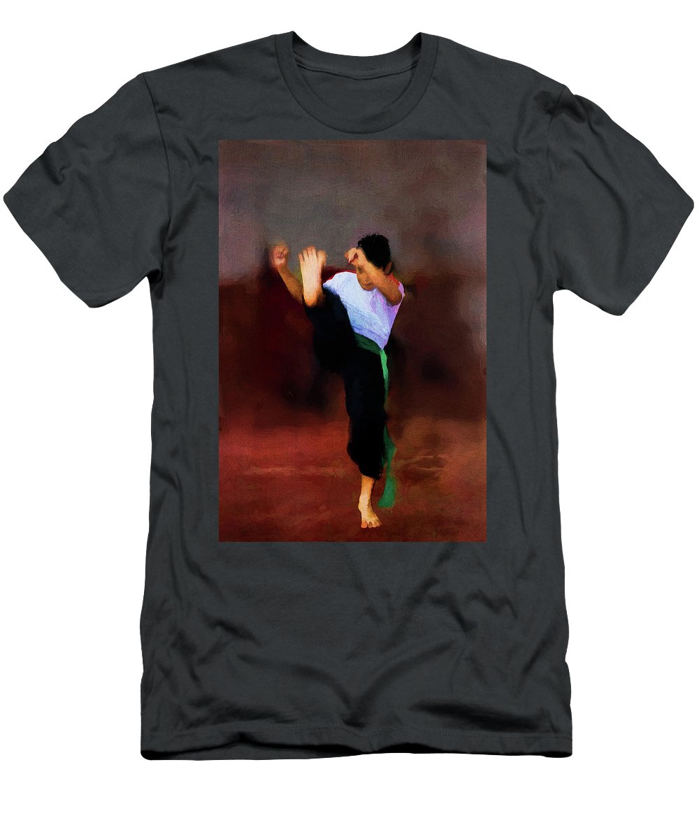 Aggression Men's T-Shirt (Athletic Fit) featuring the photograph The Young Fighter by Peter Hayward Photographer