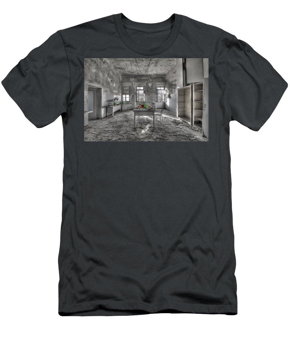 Luoghi Abbandonati Men's T-Shirt (Athletic Fit) featuring the photograph They Are All Gone - Se Ne Sono Andati Tutti by Enrico Pelos
