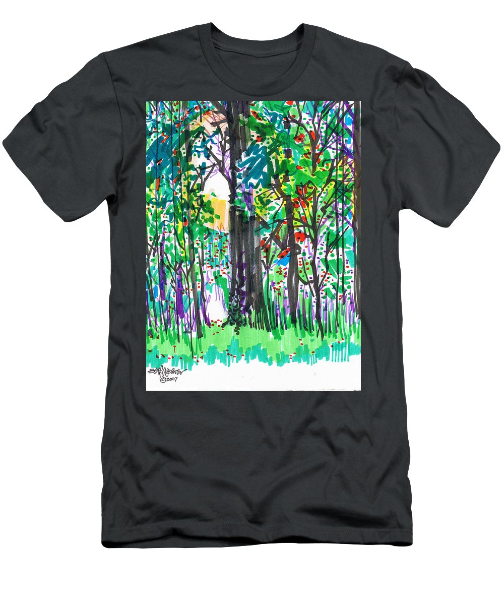 Forest Men's T-Shirt (Athletic Fit) featuring the drawing Thicket by Seth Weaver