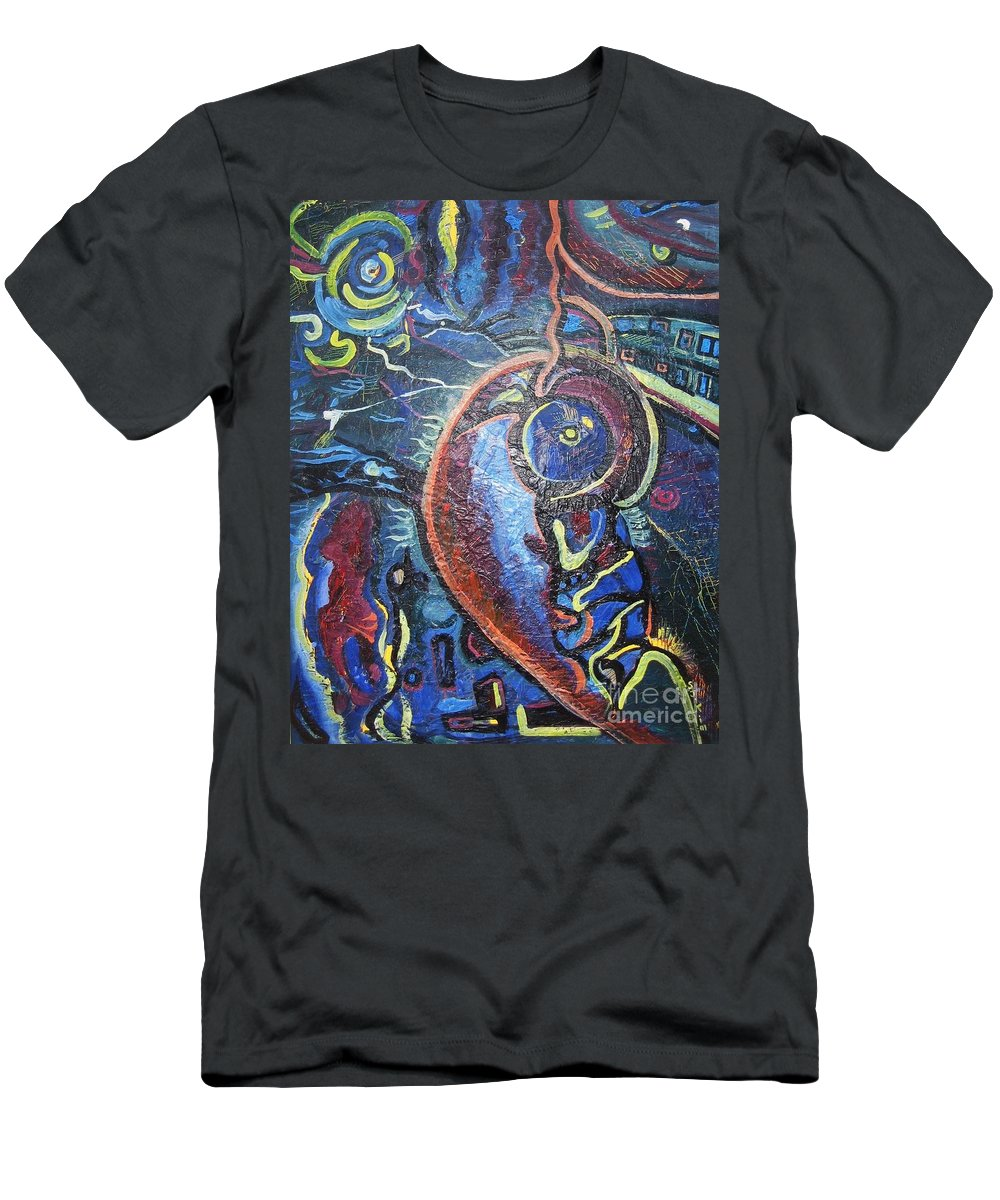 Abstract Contemporary Home Blue Oil Canvas Board Men's T-Shirt (Athletic Fit) featuring the painting Thinking Of Home by Seon-Jeong Kim