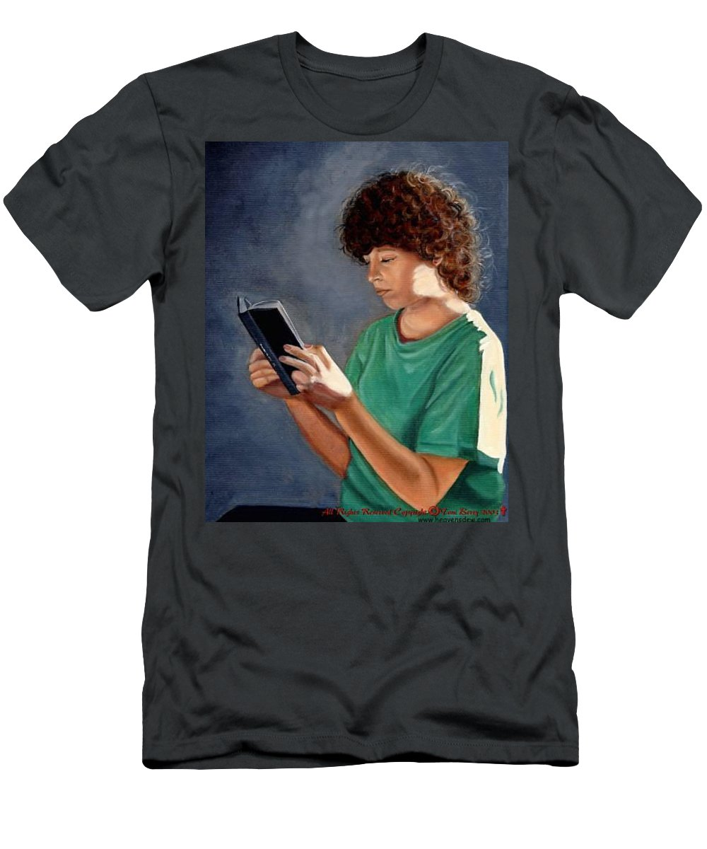 Portrait Men's T-Shirt (Athletic Fit) featuring the painting Thirst For Knowledge by Toni Berry