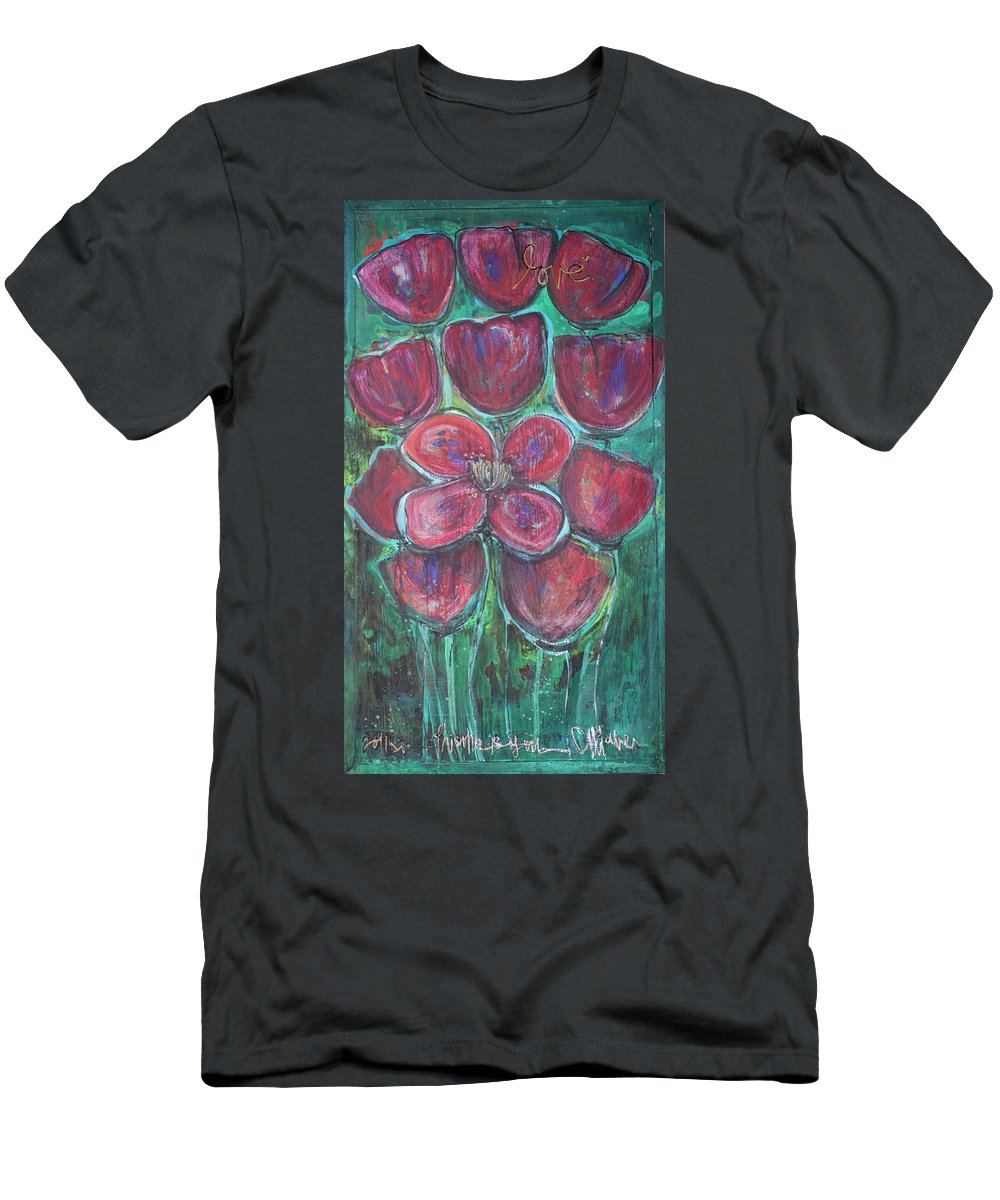 Poppies Men's T-Shirt (Athletic Fit) featuring the painting This One Is You by Laurie Maves ART