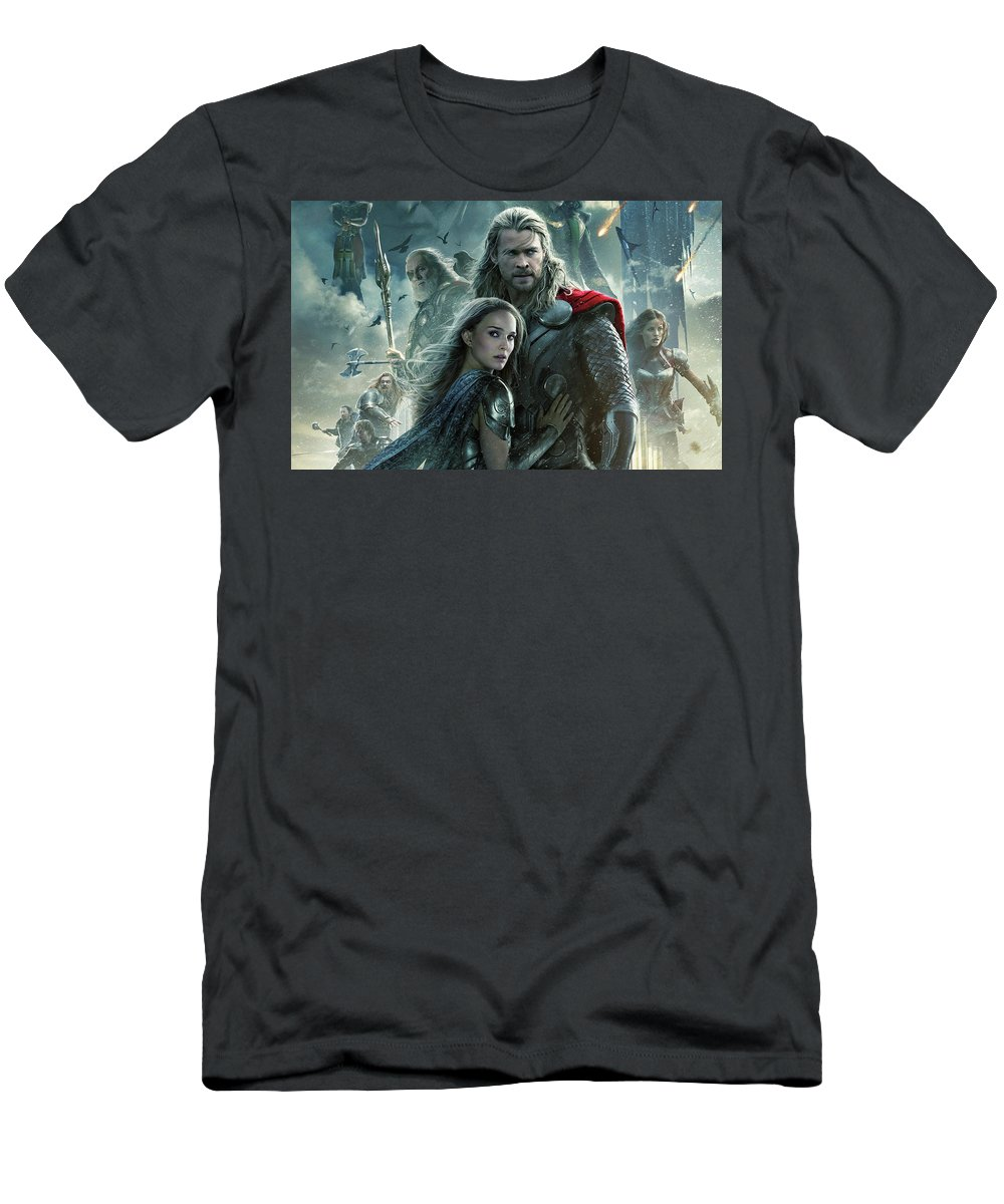 Thor The Dark World 2 Men's T-Shirt (Athletic Fit) featuring the digital art Thor 2 The Dark World 2013 by Rose Lynn