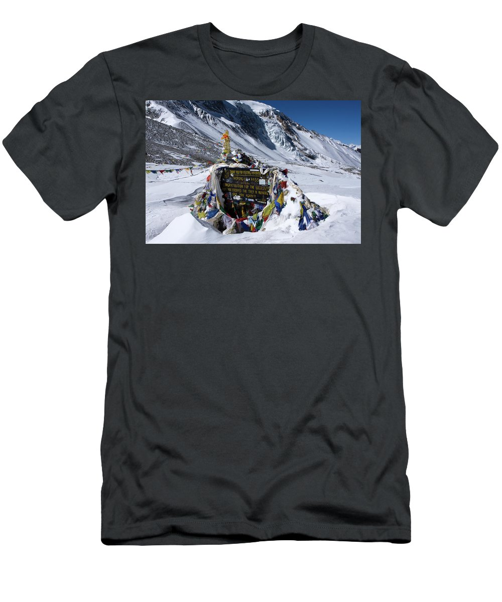 Nepal Men's T-Shirt (Athletic Fit) featuring the photograph Thorong La Pass, Annapurna Circuit, Nepal by Aidan Moran