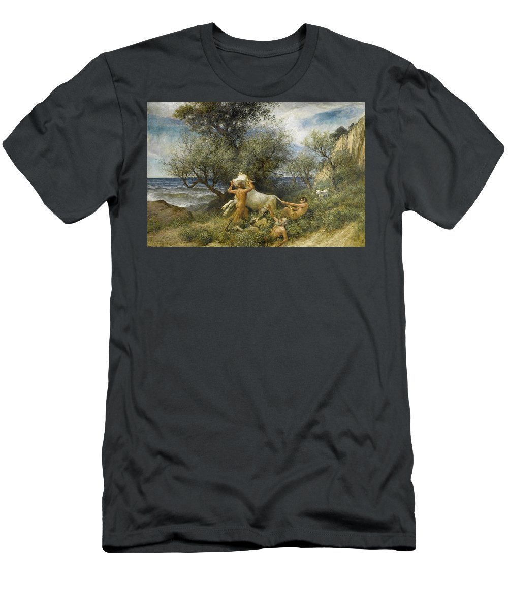 Rudolf Koller Men's T-Shirt (Athletic Fit) featuring the painting Three Faun With Cow And Calf by Rudolf Koller