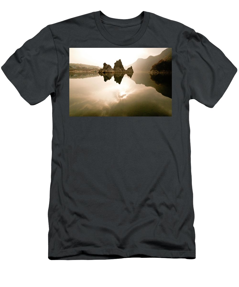 Asia Men's T-Shirt (Athletic Fit) featuring the photograph Three Peaks by Michele Burgess