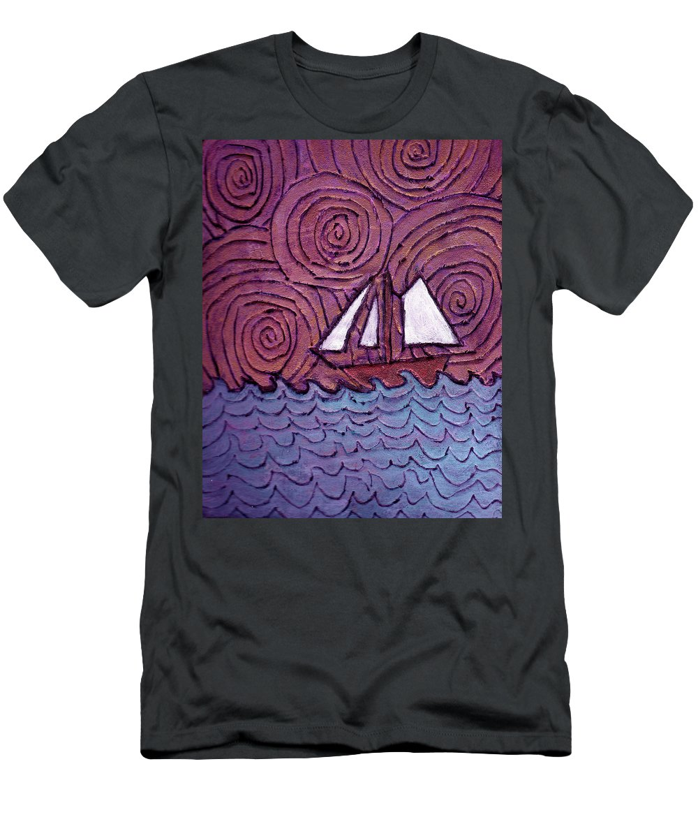 Sailing Men's T-Shirt (Athletic Fit) featuring the painting Three Sails And The Wind by Wayne Potrafka