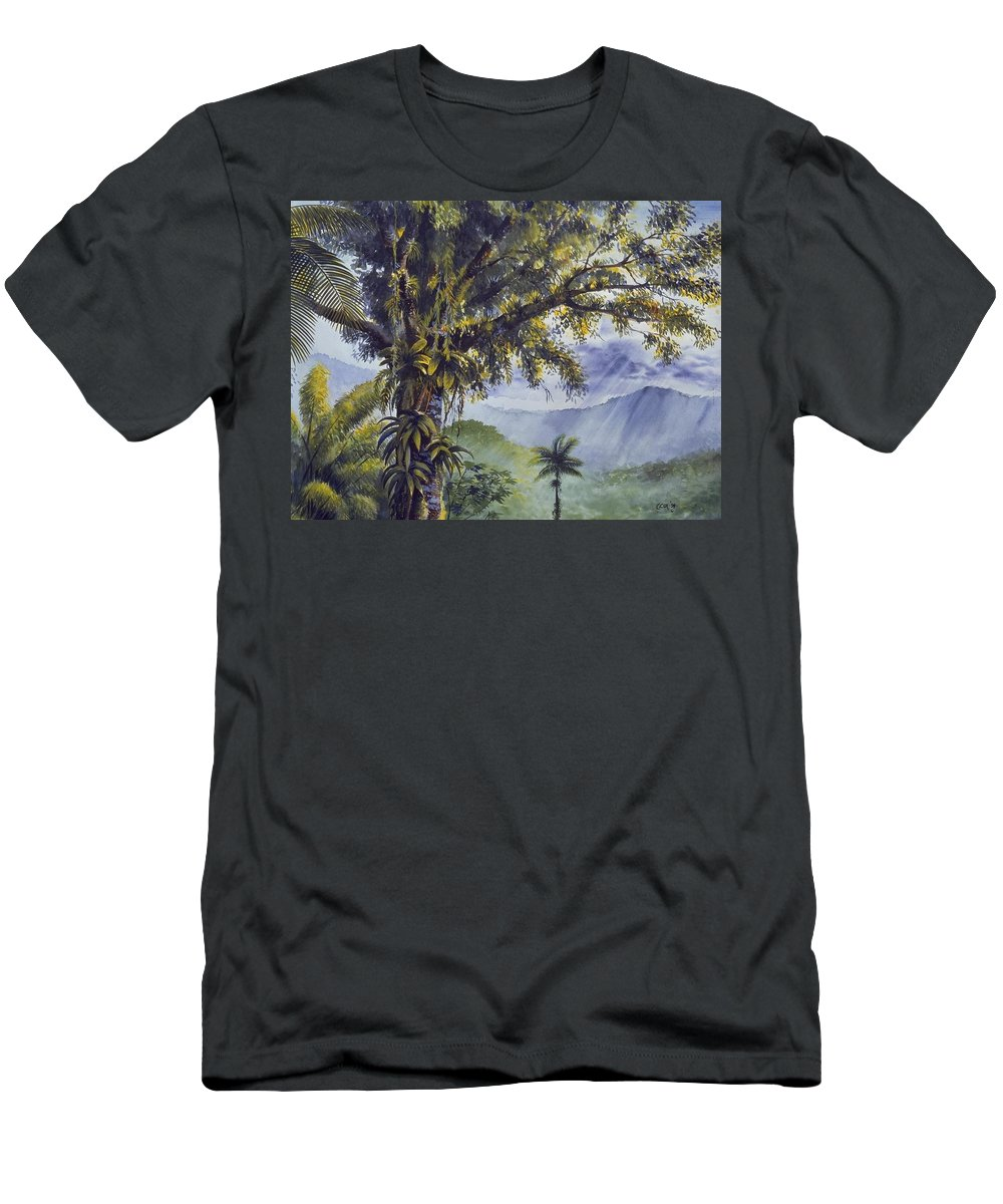 Chris Cox Men's T-Shirt (Athletic Fit) featuring the painting Through The Canopy by Christopher Cox