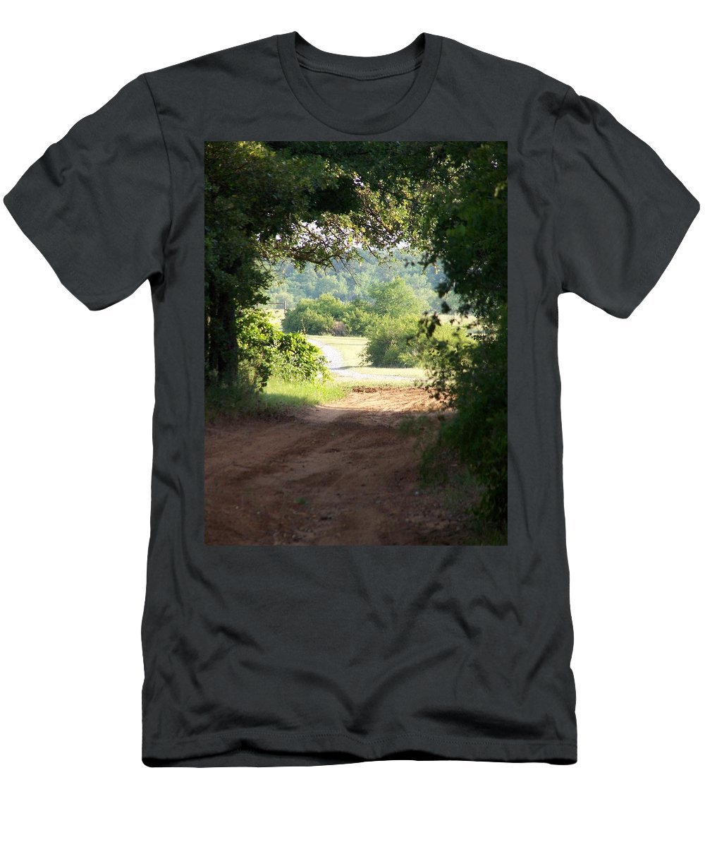 Woods Men's T-Shirt (Athletic Fit) featuring the photograph Through The Woods by Gale Cochran-Smith
