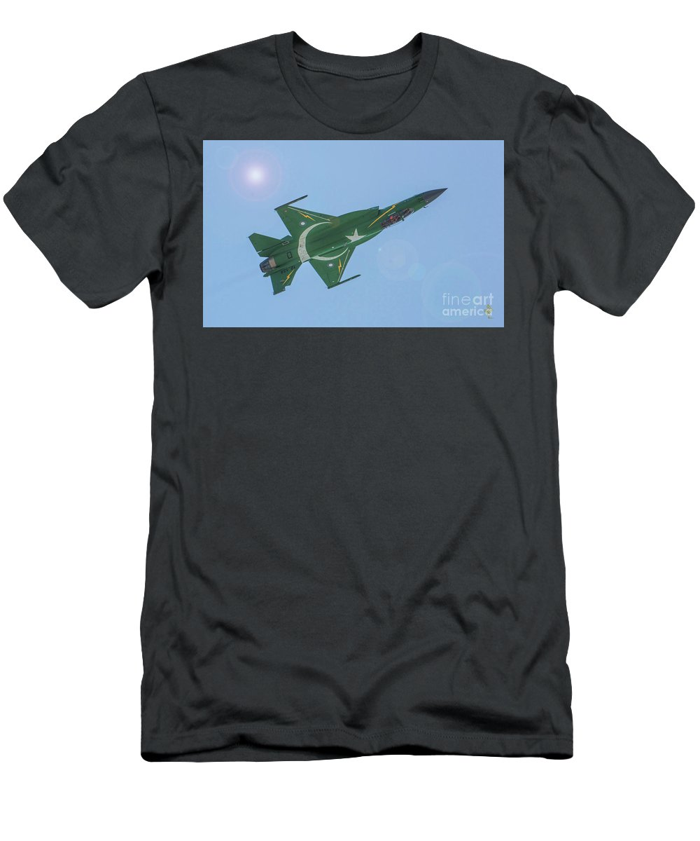 Paf Jf-17 Multi-role Fighter Men's T-Shirt (Athletic Fit) featuring the photograph Thunder Over Arabian Sea by Syed Muhammad Munir ul Haq