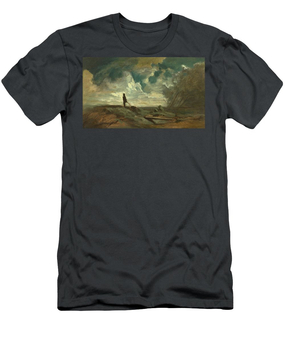 Landscape Men's T-Shirt (Athletic Fit) featuring the painting Thunderstorm by Celestial Images