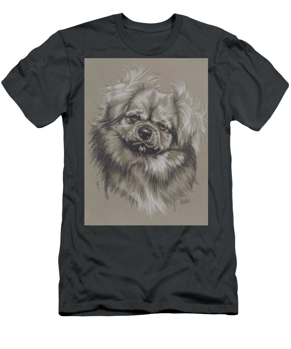 Purebred Men's T-Shirt (Athletic Fit) featuring the drawing Tibetan Spaniel by Barbara Keith