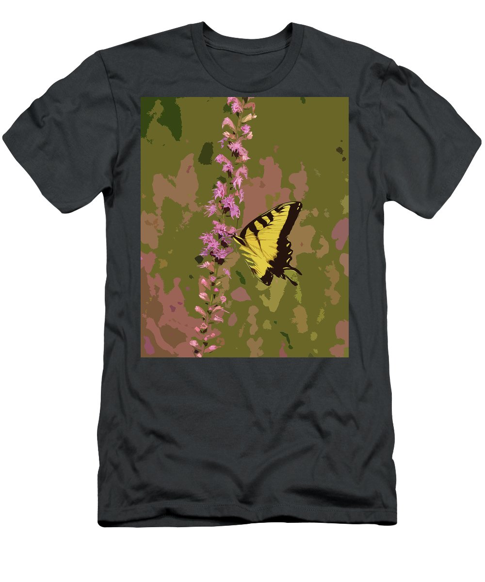 Nature Men's T-Shirt (Athletic Fit) featuring the photograph Tiger On Blazing Star by Peg Urban