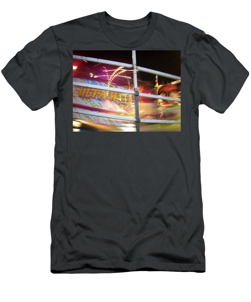 State Fair Men's T-Shirt (Athletic Fit) featuring the photograph Tilt-a-whirl 1 by Anita Burgermeister