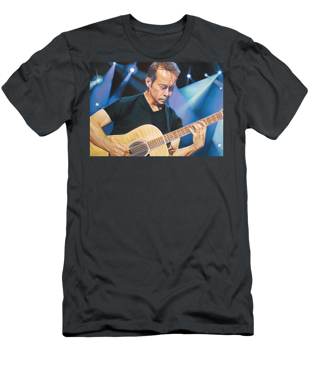 Tim Reynolds Men's T-Shirt (Athletic Fit) featuring the drawing Tim Reynolds And Lights by Joshua Morton