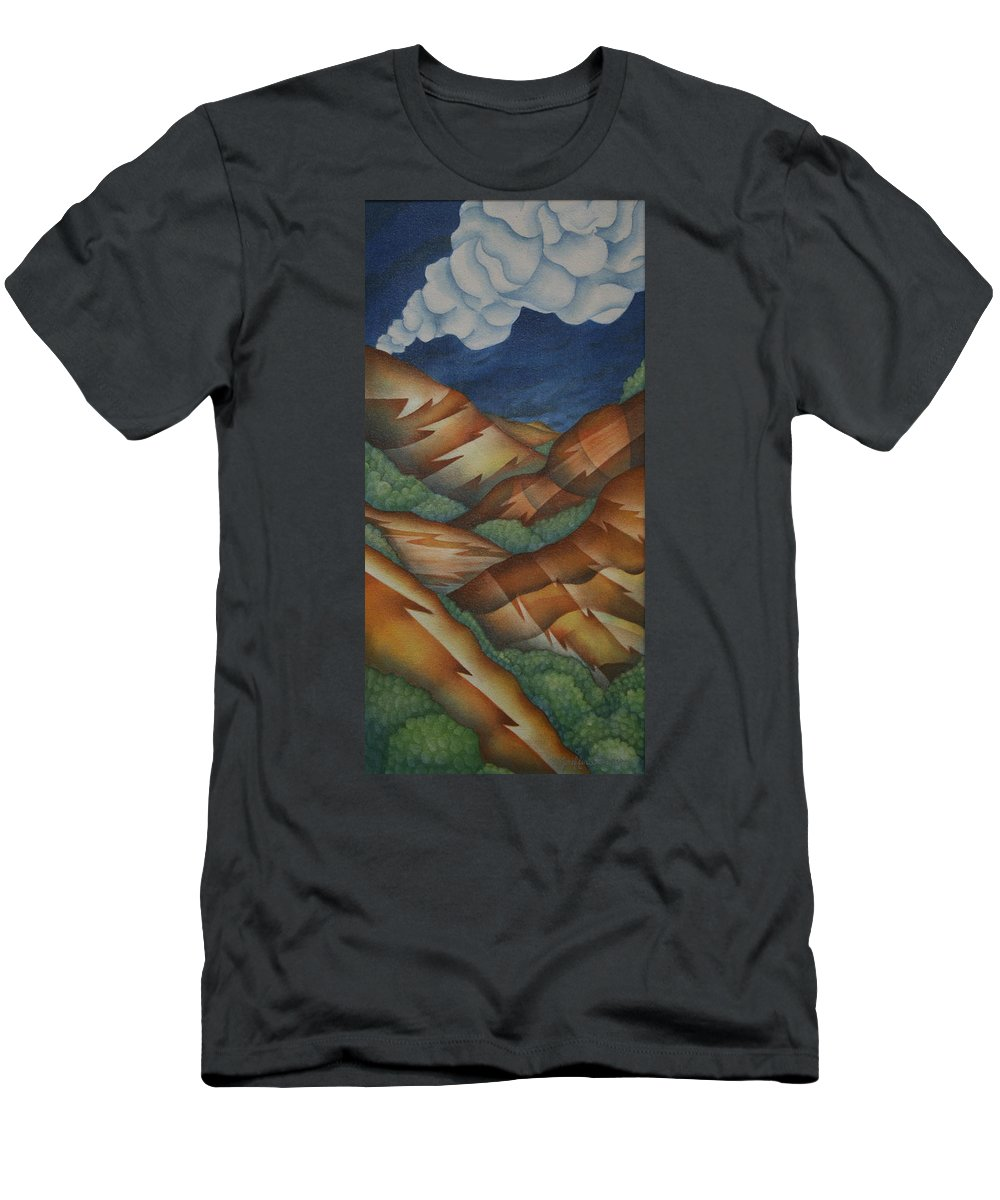 Mountains Men's T-Shirt (Athletic Fit) featuring the painting Time To Seek Shelter by Jeniffer Stapher-Thomas
