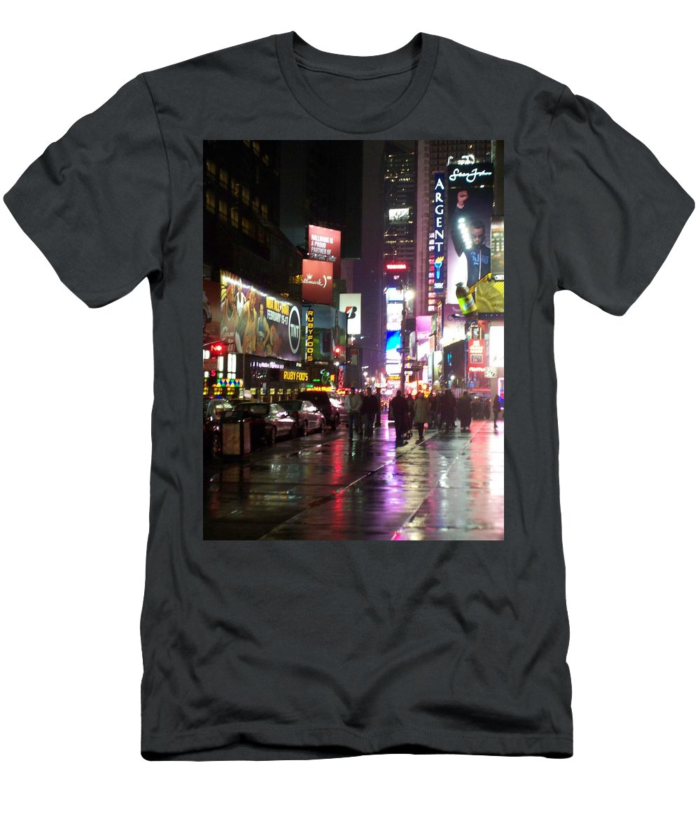 Times Square Men's T-Shirt (Athletic Fit) featuring the photograph Times Square In The Rain 1 by Anita Burgermeister