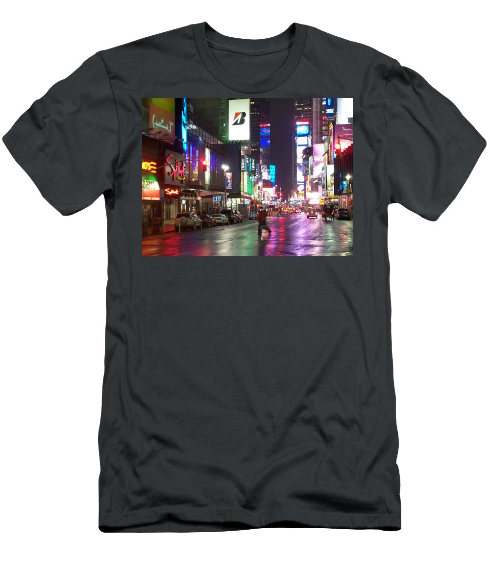 Times Square Men's T-Shirt (Athletic Fit) featuring the photograph Times Square In The Rain 2 by Anita Burgermeister