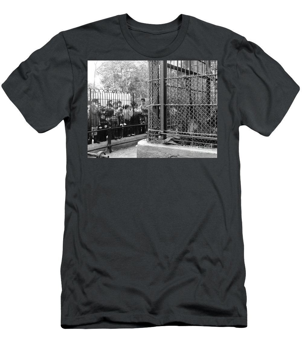 Zoo Monkey Beg For Food Cage Kids Black And White Men's T-Shirt (Athletic Fit) featuring the photograph to Beg by Mina Milad