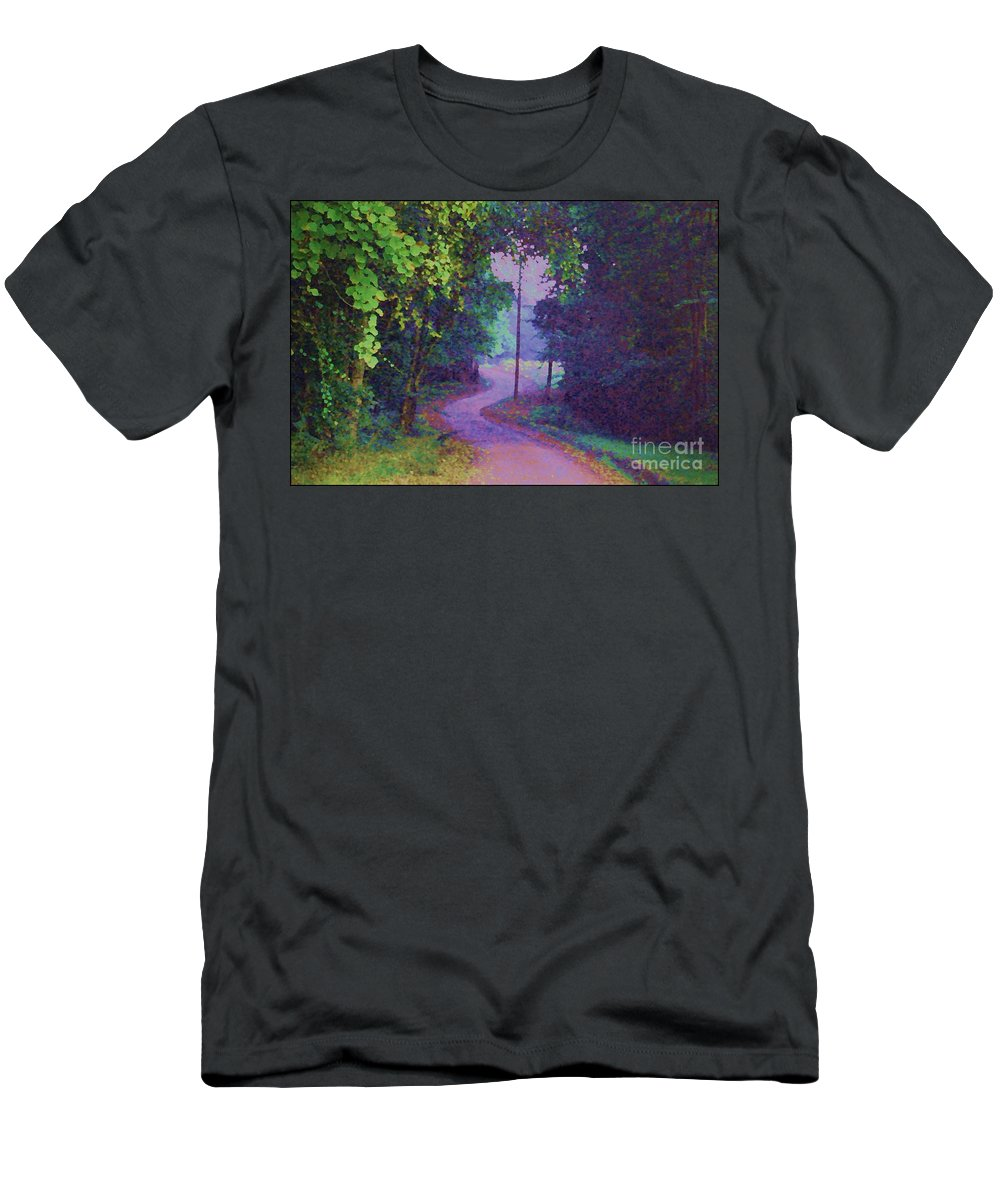 Road Men's T-Shirt (Athletic Fit) featuring the photograph To Grandma's House by Donna Bentley