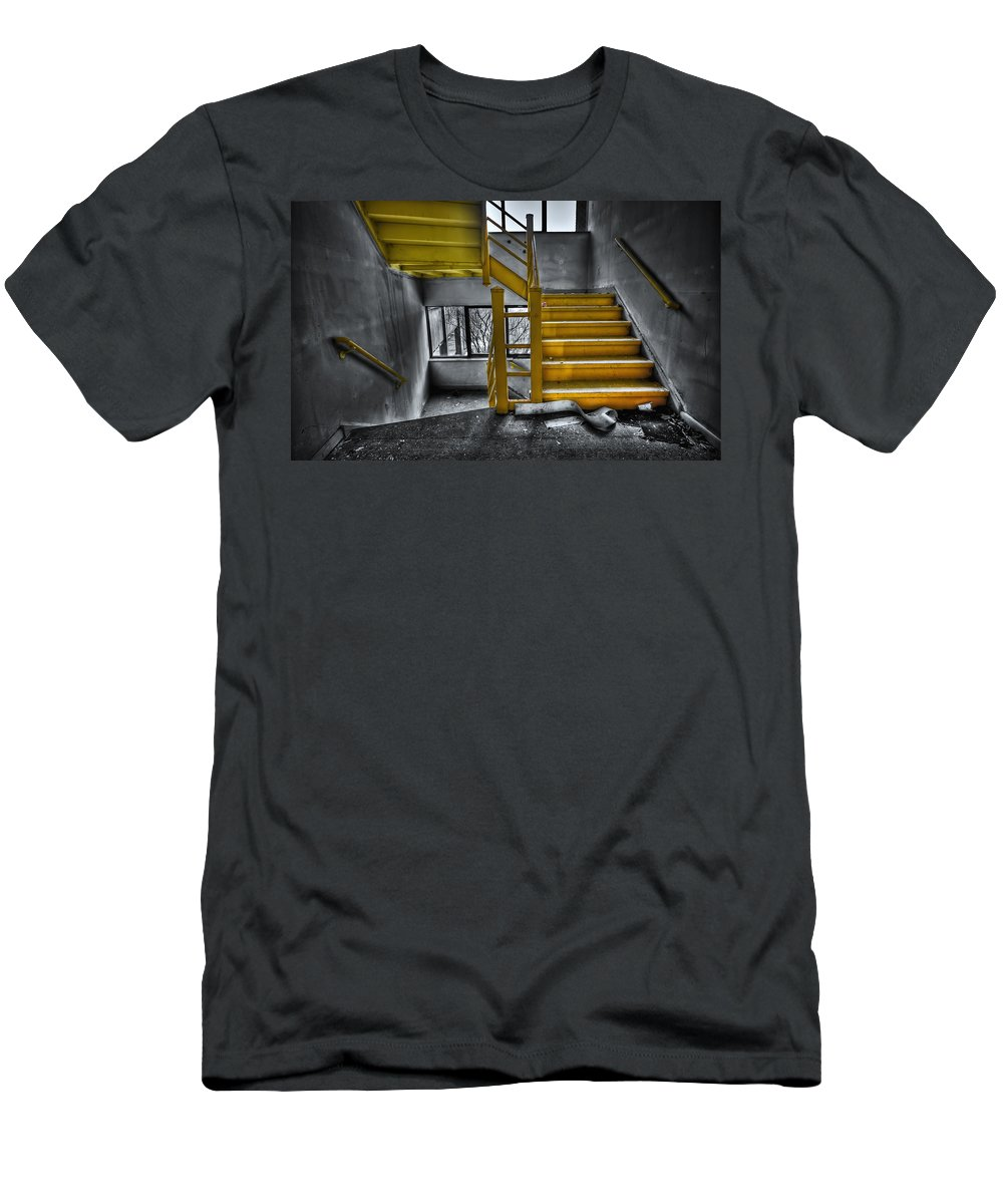 Stair Men's T-Shirt (Athletic Fit) featuring the photograph To The Higher Ground by Evelina Kremsdorf