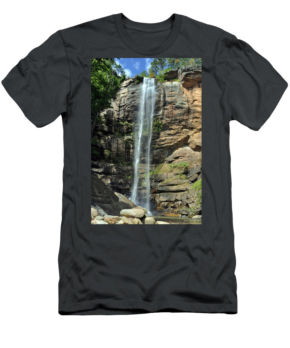 Nature Men's T-Shirt (Athletic Fit) featuring the photograph Toccoa Falls by Kay Lovingood
