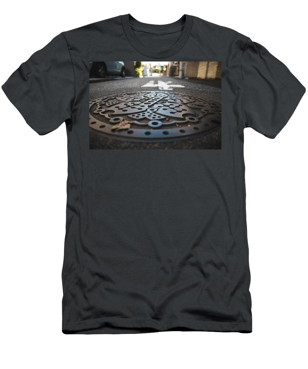 Japan Men's T-Shirt (Athletic Fit) featuring the photograph Tokyo Sewer Cover by Jonathan Craft