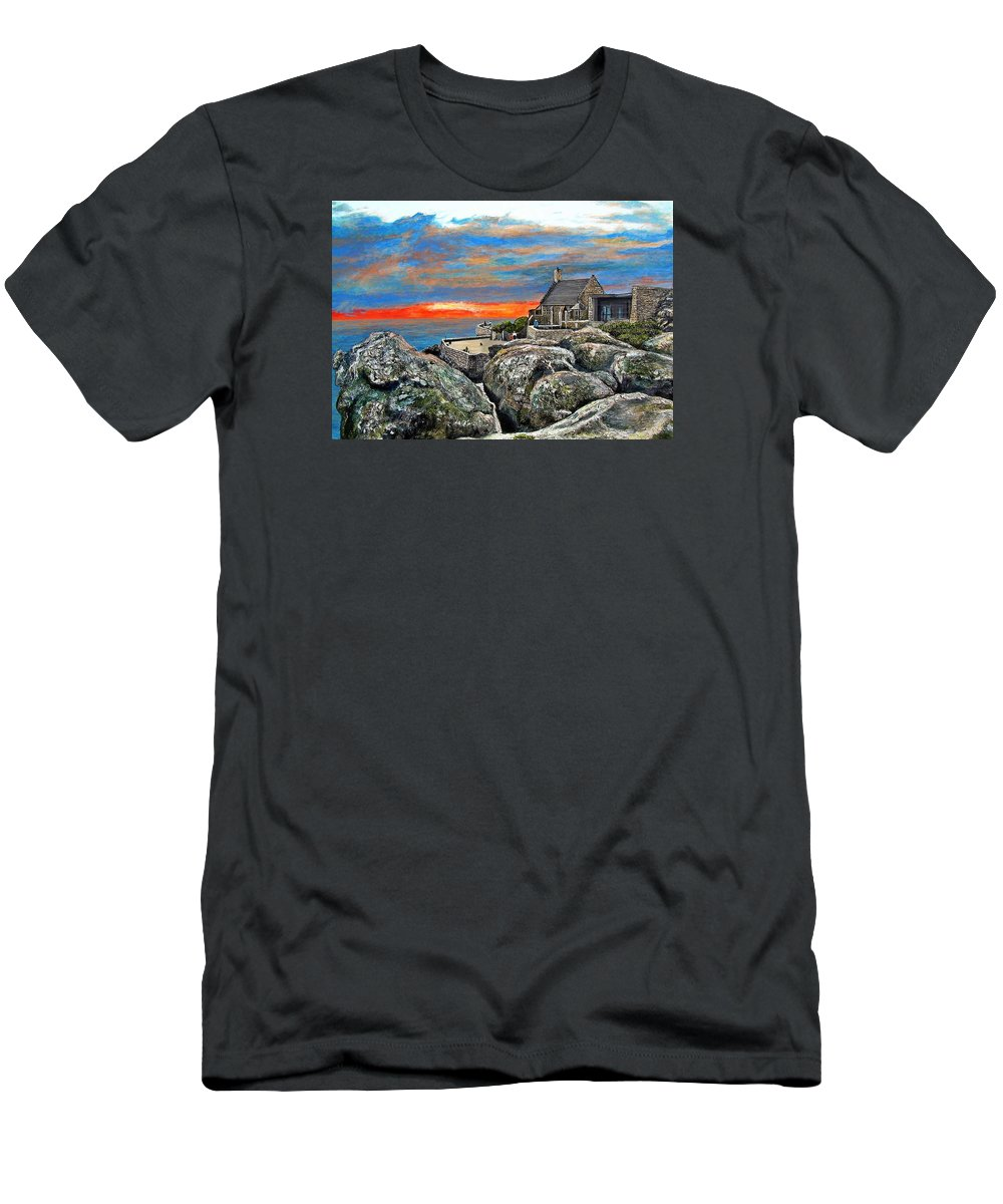 Sunset Men's T-Shirt (Athletic Fit) featuring the painting Top Of Table Mountain by Michael Durst