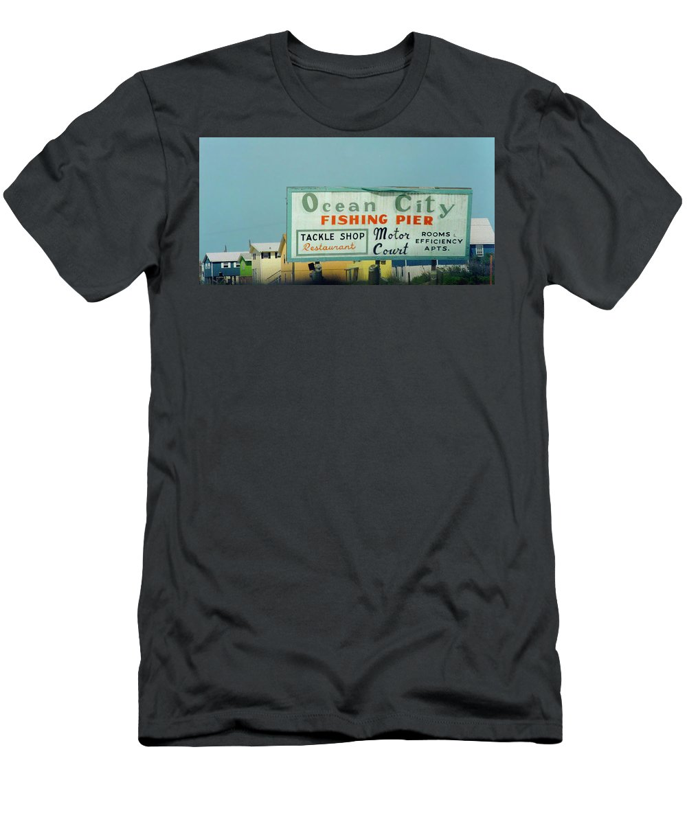 Topsail Men's T-Shirt (Athletic Fit) featuring the photograph Topsail Island 1996 Ocean City by Betsy Knapp