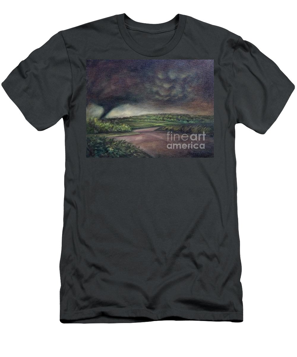 Tornado Men's T-Shirt (Athletic Fit) featuring the painting Millsfield Tennessee Tornado From My Backdoor by Randy Burns