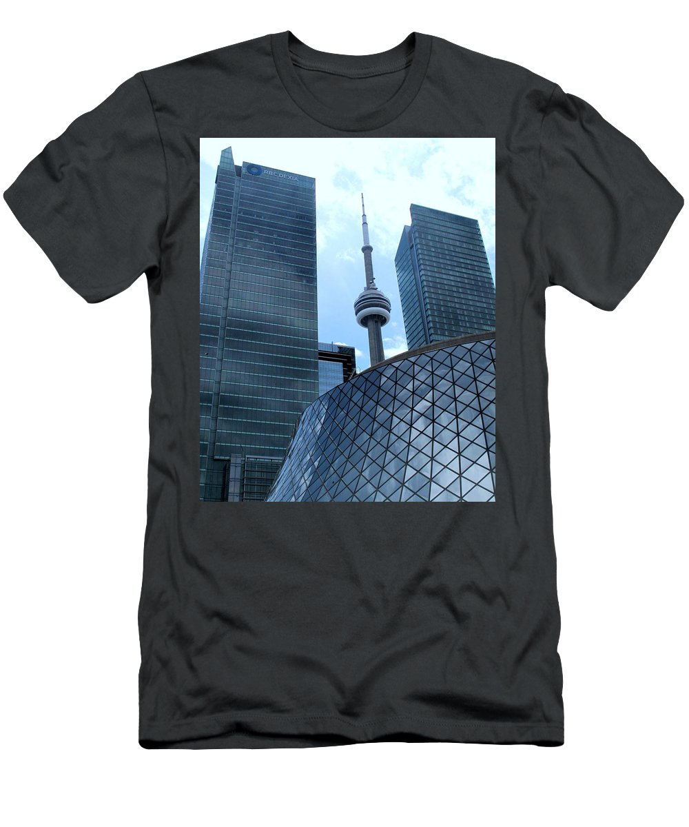 Cn Tower Men's T-Shirt (Athletic Fit) featuring the photograph Toronto Soaring by Ian MacDonald