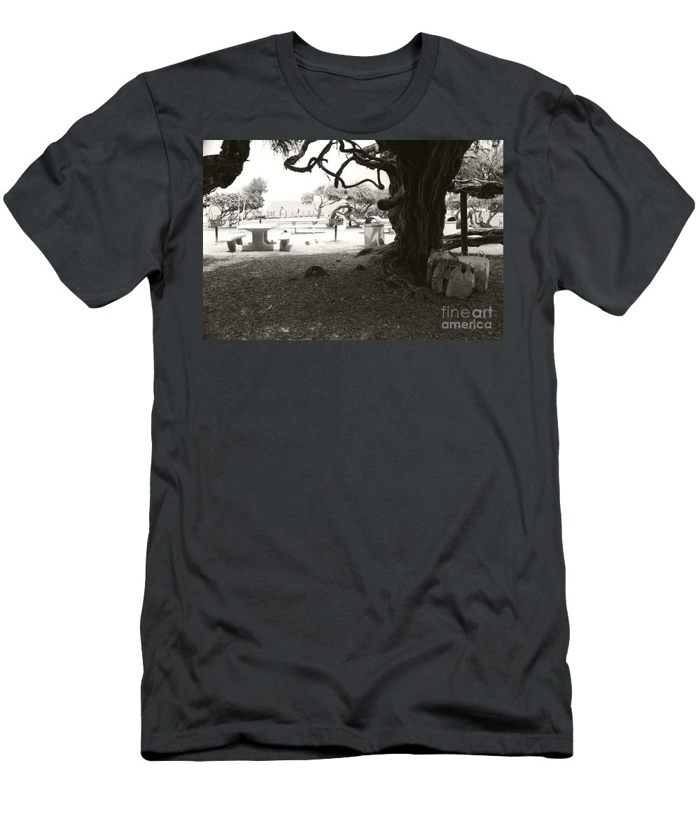 La Jolla Men's T-Shirt (Athletic Fit) featuring the photograph Torrey Pines Baggage Claim by Heather Kirk