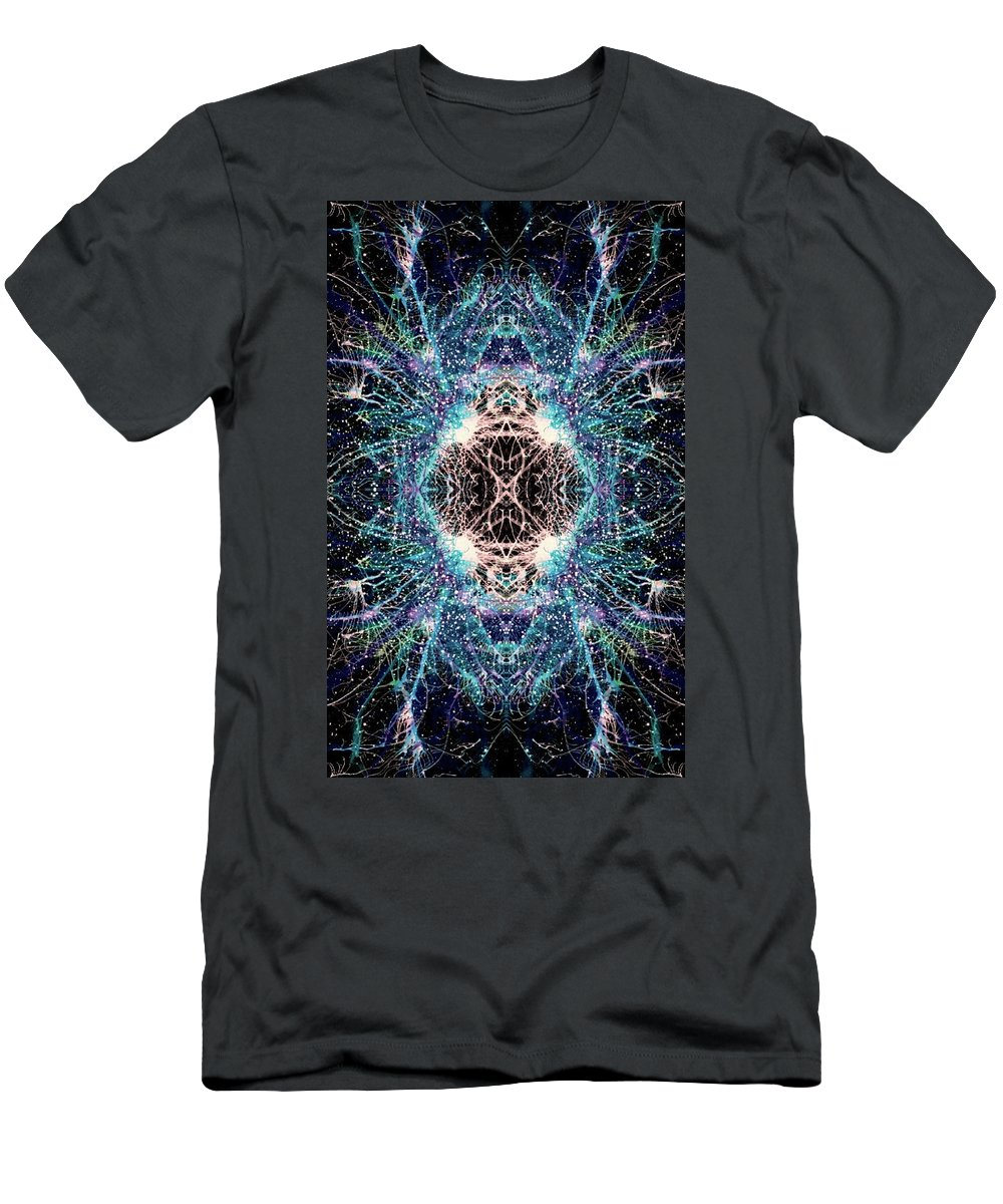 Abstract Men's T-Shirt (Athletic Fit) featuring the mixed media Totems Of The Vision Quests #1526 by Rainbow Artist Orlando L