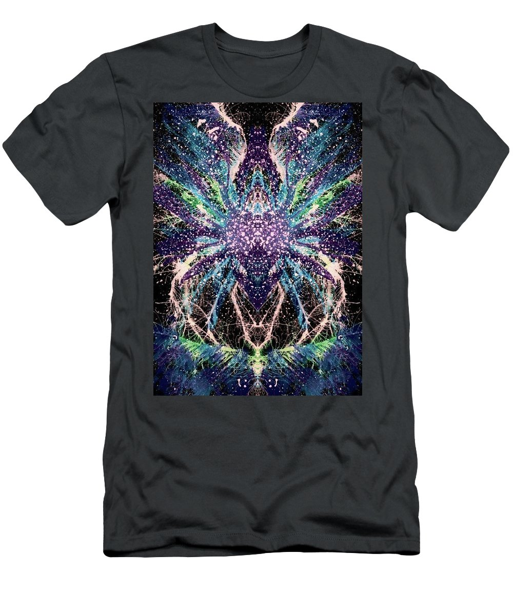 Abstract Men's T-Shirt (Athletic Fit) featuring the mixed media Totems Of The Vision Quests #1530 by Rainbow Artist Orlando L